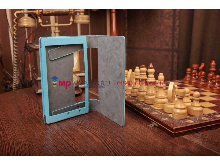 Фирменный чехол-обложка-книжка для Lenovo Yoga Tablet 8 B6000 голубой кожаный..