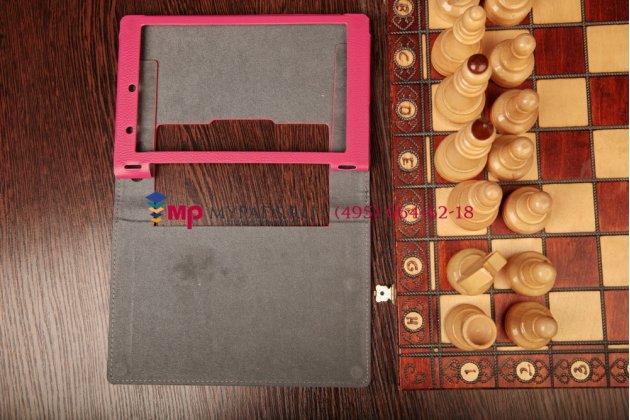 Фирменный чехол-обложка-книжка для Lenovo Yoga Tablet 8 B6000 малиновый кожаный
