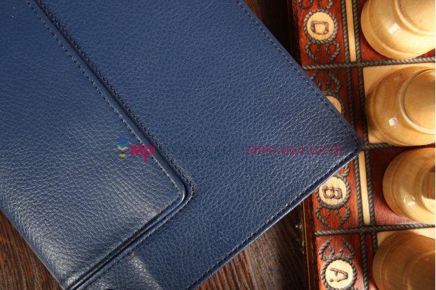 Фирменный чехол закрытого типа с отделением под аккумулятор для Lenovo Yoga Tablet 8 B6000 синий кожаный