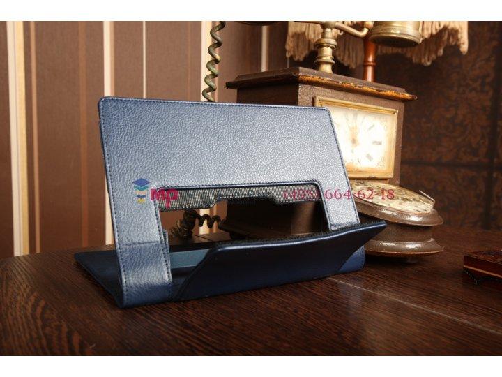 Фирменный чехол закрытого типа с отделением под аккумулятор для Lenovo Yoga Tablet 8 B6000 синий кожаный..