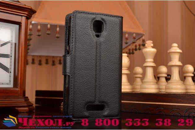 """Фирменный чехол-книжка из качественной импортной кожи с мульти-подставкой застёжкой и визитницей для Lenovo A1000/ A2800 /A2800D 4.0"""" черный"""