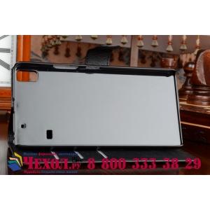 Фирменный чехол-книжка из качественной импортной кожи с мульти-подставкой застёжкой и визитницей для Lenovo A7000 (Леново А7000) черный