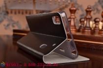 Фирменный чехол-книжка из качественной водоотталкивающей импортной кожи на жёсткой металлической основе для Lenovo K3 Note/A7000  черный