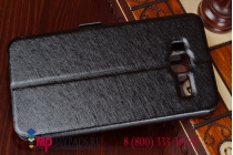 Фирменный чехол-книжка для Lenovo A916 черный с окошком для входящих вызовов и свайпом водоотталкивающий