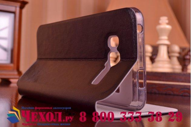 Фирменный чехол-книжка из качественной водоотталкивающей импортной кожи на жёсткой металлической основе для Lenovo A916 черный