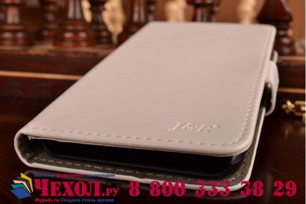 Фирменный чехол-книжка из качественной импортной кожи с подставкой застёжкой и визитницей для Lenovo A916 белый