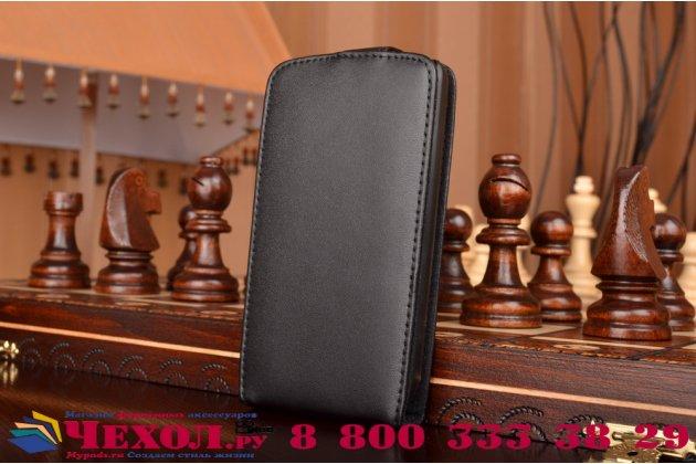 Фирменный оригинальный вертикальный откидной чехол-флип для Lenovo IdeaPhone A800 черный кожаный