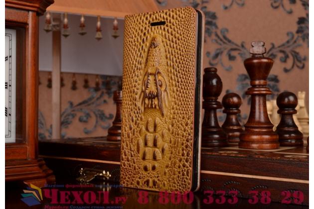 Фирменный роскошный эксклюзивный чехол с объёмным 3D изображением кожи крокодила коричневый для Lenovo IdeaPhone K900 . Только в нашем магазине. Количество ограничено