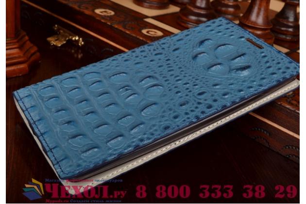 Фирменный роскошный эксклюзивный чехол с объёмным 3D изображением рельефа кожи крокодила синий для Lenovo IdeaPhone K900 . Только в нашем магазине. Количество ограничено