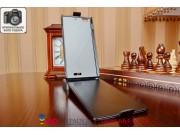 Фирменный оригинальный вертикальный откидной чехол-флип для Lenovo K900 черный из качественной импортной кожи ..