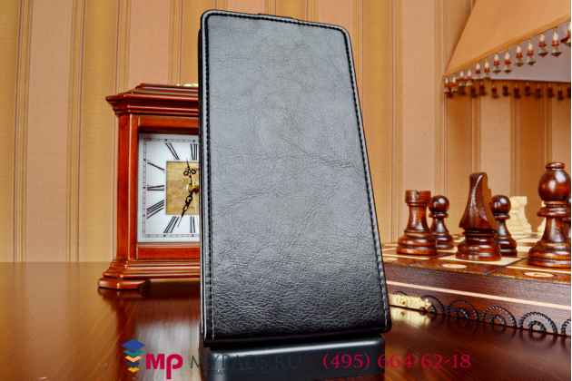 """Фирменный оригинальный вертикальный откидной чехол-флип для Lenovo K900 черный из качественной импортной кожи """"Prestige"""" Италия"""
