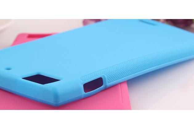 Фирменная ультра-тонкая полимерная из мягкого качественного силикона задняя панель-чехол-накладка для Lenovo K900 голубая