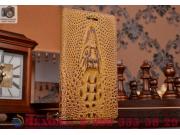 Фирменный роскошный эксклюзивный чехол с объёмным 3D изображением кожи крокодила коричневый для Lenovo K3 Musi..
