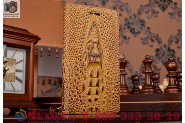 Фирменный роскошный эксклюзивный чехол с объёмным 3D изображением кожи крокодила коричневый для Lenovo K3 Music Lemon/K30/A6000 . Только в нашем магазине. Количество ограничено