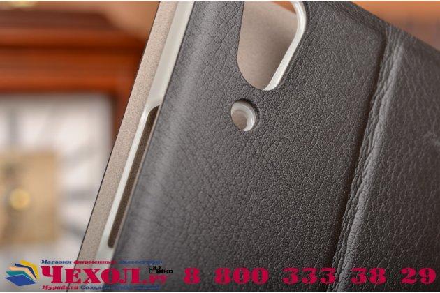 Фирменный чехол-книжка из качественной водоотталкивающей импортной кожи на жёсткой металлической основе для Lenovo A6000/ A6010 Plus черный