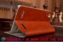 Фирменный чехол-книжка из качественной водоотталкивающей импортной кожи на жёсткой металлической основе для Lenovo A6000/ A6010 Plus коричневый