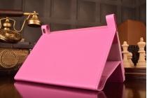 """Фирменный чехол бизнес класса для Lenovo Yoga Tablet 8 3 16Gb 4G LTE (850M / YT3-850) с визитницей и держателем для руки розовый """"Prestige"""" Италия"""