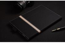 Фирменный оригинальный чехол для YB1-X91L / X90L / ZA0W0014RU с отделением под клавиатуру черный с золотой полосой кожаный