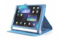 """Фирменный чехол бизнес класса для Lenovo Yoga Tablet 2 10.1 4G (1050L/1051L) с визитницей и держателем для руки голубой """"Prestige"""" Италия"""