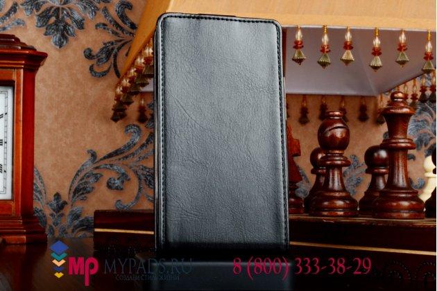 """Фирменный оригинальный вертикальный откидной чехол-флип для Lenovo A316i черный кожаный """"Prestige"""" Италия"""
