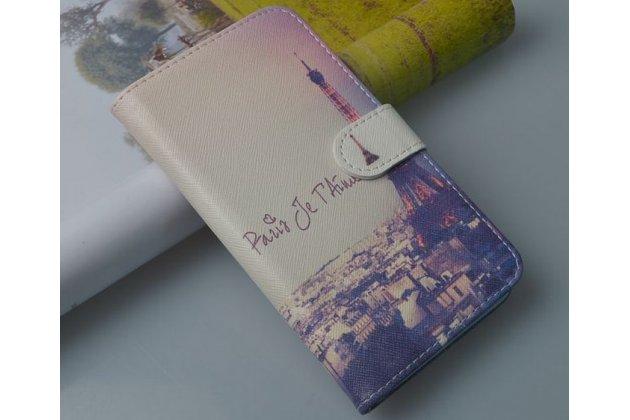 """Фирменный уникальный необычный чехол-подставка с визитницей кармашком для Lenovo A319  """"тематика Франция"""""""
