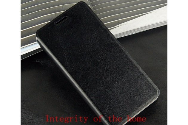 Фирменный чехол-книжка из качественной водоотталкивающей импортной кожи на жёсткой металлической основе для Lenovo A319 черный