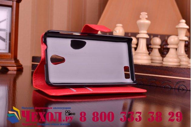 Фирменный чехол-книжка из качественной импортной кожи с подставкой застёжкой и визитницей для Lenovo A319 красный