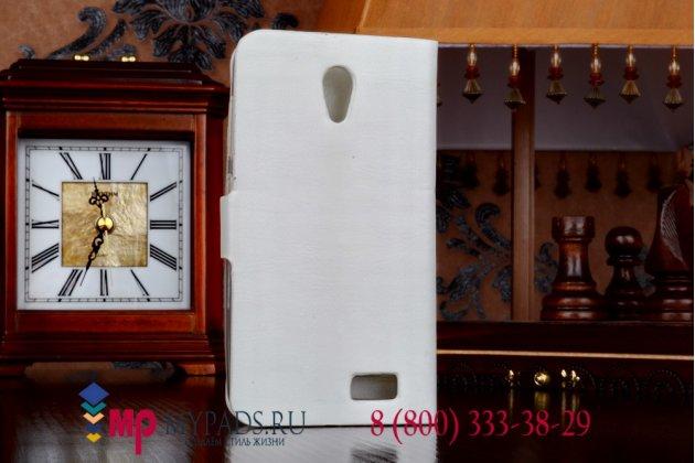 Фирменный чехол-книжка из качественной импортной кожи с подставкой для Lenovo A319 белый
