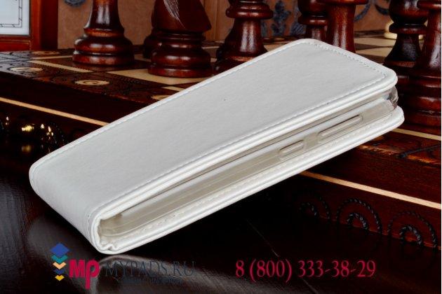 """Фирменный оригинальный вертикальный откидной чехол-флип для Lenovo A319 белый из качественной импортной кожи """"Prestige"""" Италия"""
