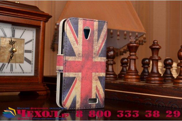 """Фирменный уникальный необычный чехол-книжка для Lenovo A319 """"тематика британский флаг"""""""