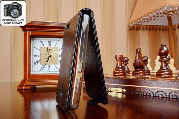 """Фирменный оригинальный вертикальный откидной чехол-флип для Lenovo A319 (P0RQ0023RU) черный из качественной импортной кожи """"Prestige"""" Италия"""