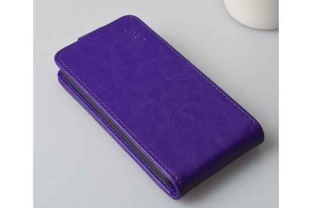 """Фирменный оригинальный вертикальный откидной чехол-флип для Lenovo A526 фиолетовый из качественной импортной кожи """"Prestige"""" Италия"""