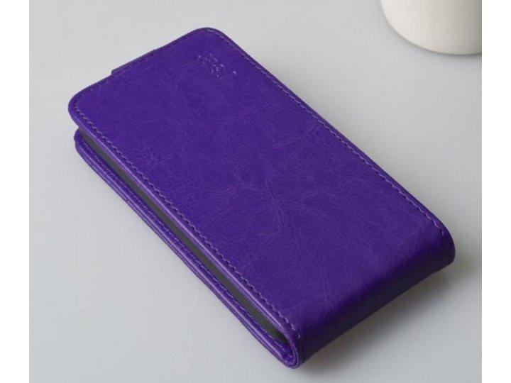 Фирменный оригинальный вертикальный откидной чехол-флип для Lenovo A526 фиолетовый из качественной импортной к..