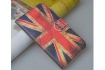 """Фирменный уникальный необычный чехол-книжка для Lenovo A526 """"тематика британский флаг"""""""