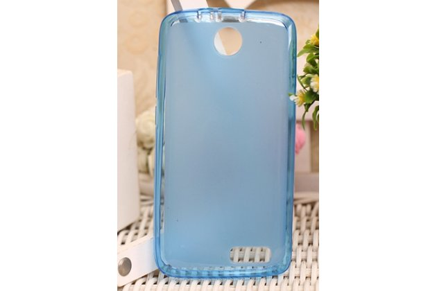 Фирменная ультра-тонкая полимерная из мягкого качественного силикона задняя панель-чехол-накладка для Lenovo A526 голубая