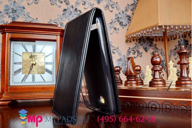 """Фирменный оригинальный вертикальный откидной чехол-флип для Lenovo A526 черный кожаный """"Prestige"""" Италия"""