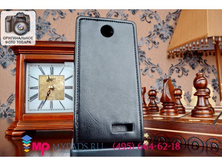 Фирменный оригинальный вертикальный откидной чехол-флип для Lenovo A526 черный кожаный