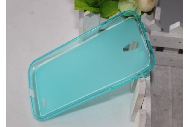 Фирменная ультра-тонкая полимерная из мягкого качественного силикона задняя панель-чехол-накладка для Lenovo A859 голубая