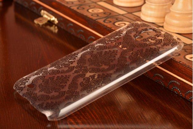 Фирменная роскошная задняя панель-чехол-накладка с расписным узором для Lenovo A859 прозрачная черная