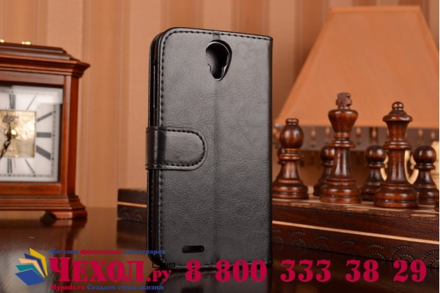 Фирменный чехол-книжка из качественной импортной кожи с подставкой застёжкой и визитницей для Леново А859 черный