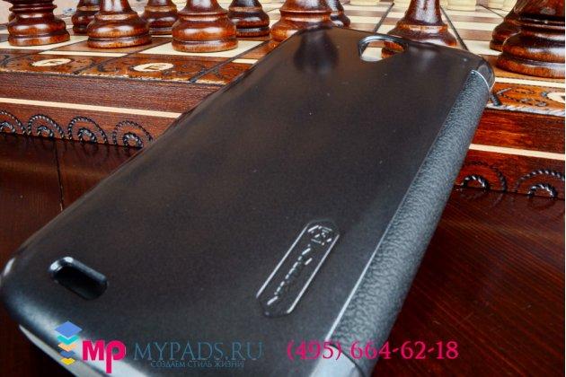 Фирменный оригинальный чехол-книжка для Lenovo A859 черный кожаный с окошком для входящих вызовов