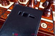 """Фирменный оригинальный вертикальный откидной чехол-флип для Леново А916 черный из качественной импортной кожи """"Prestige"""" Италия"""