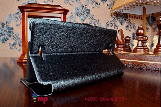 Фирменный оригинальный чехол-книжка для Lenovo S8 (S898t) черный кожаный с окошком для входящих вызовов и свайпом