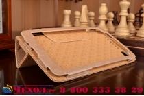 """Фирменный чехол-футляр-книжка для Lenovo Phab Plus PB1-770N/770M 6.8"""" ZA070019RU золотой кожаный"""