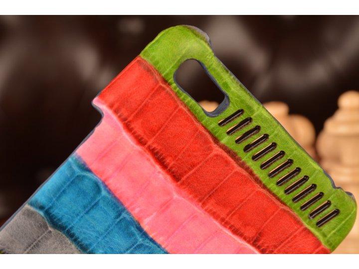 Фирменная неповторимая экзотическая панель-крышка обтянутая кожей крокодила с фактурным тиснением для Lenovo P..