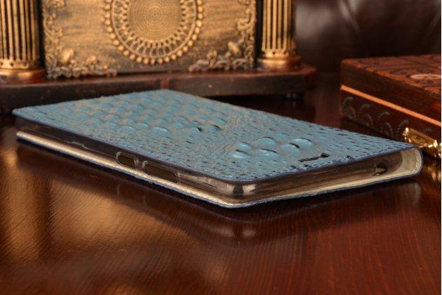 """Фирменный роскошный эксклюзивный чехол с объёмным 3D изображением рельефа кожи крокодила синий для Lenovo Phab Plus PB1-770N/770M 6.8"""" ZA070019RU. Только в нашем магазине. Количество ограничено"""