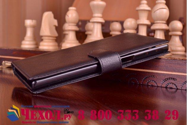 Фирменный чехол-книжка из качественной импортной кожи с мульти-подставкой застёжкой и визитницей для Леново Вайб Вибе Зет 2 Про К920 черный
