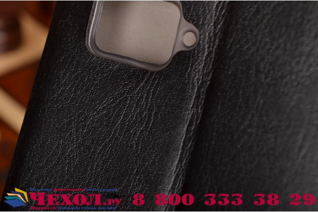 Фирменный чехол-книжка из качественной водоотталкивающей импортной кожи на жёсткой металлической основе для Lenovo Vibe Z2 Pro K920 черный