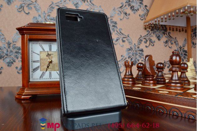 """Фирменный оригинальный вертикальный откидной чехол-флип для Lenovo Vibe Z2 Pro K920 LTE черный из качественной импортной кожи """"Prestige"""" Италия"""