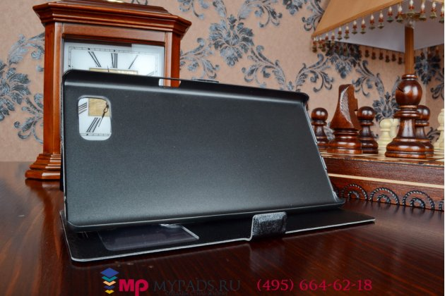Фирменный оригинальный чехол-книжка для Lenovo Vibe Z2 Pro K920 черный кожаный с окошком для входящих вызовов и свайпом